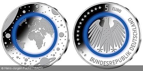"""5€-Sondermünze """"Blauer Planet Erde"""" 2016"""