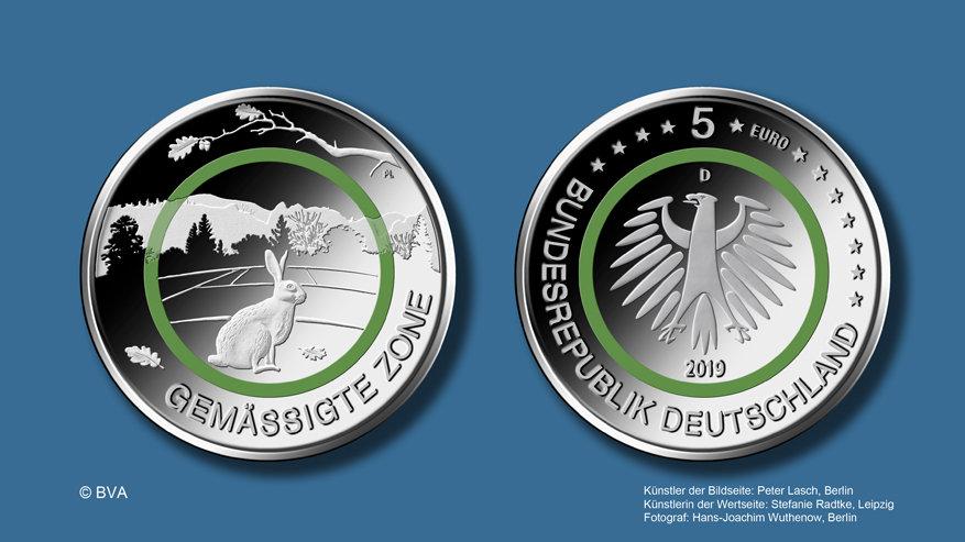 """5€-Sondermünze """"Gemäßigte Zone"""" 2019"""