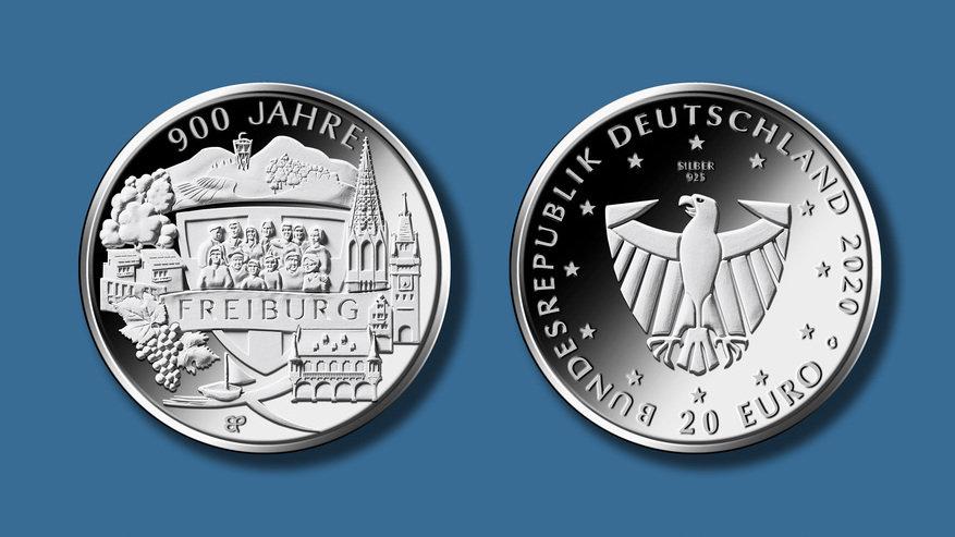 """20€-Sondermünze """"900 Jahre Freiburg"""""""